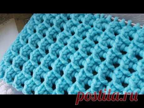 Рельефно-сетчатый узор спицами 🍂 knitting pattern.