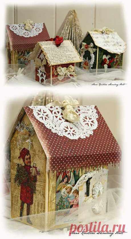Рождественский домик из упаковки из под молока, МК.