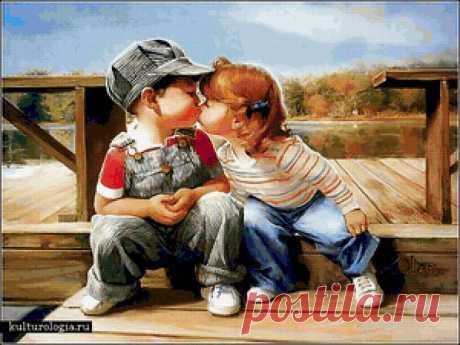 Предпросмотр схемы вышивки «Малыши,поцелуй,любовь,дети» - Вышивка крестом