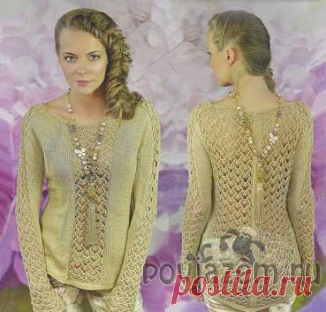 Ажурный пуловер спицами песочного цвета