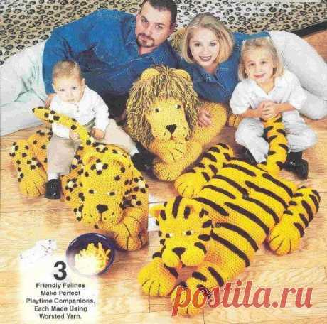 Как связать тигра. Вязанный тигр - подушка.