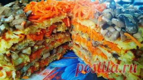 Картофельный торт с грибами и морковью на сковороде — Кулинарная книга - рецепты с фото