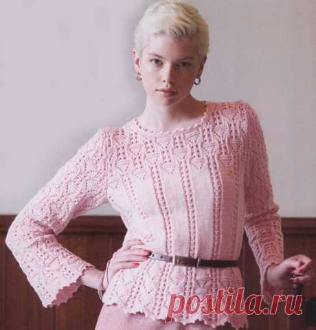 Розовый пуловер #пуловер #рукоделие #хобби #творчество #своими_руками #вяжем