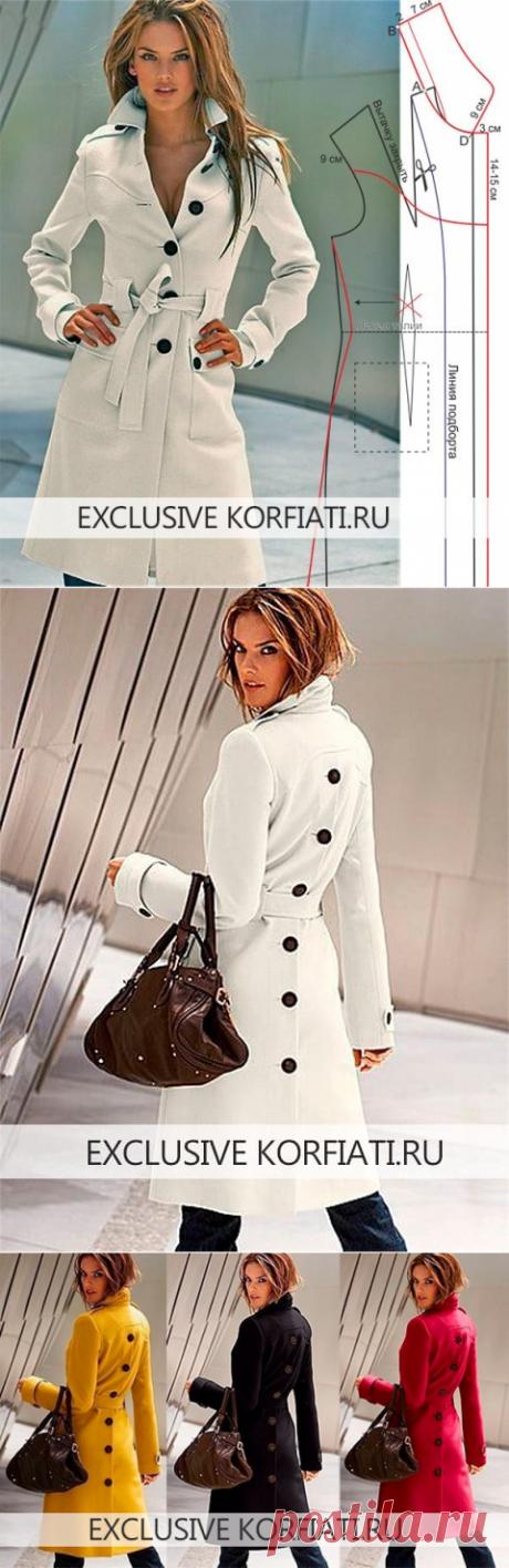 Выкройка пальто со шлицей от Анастасии Корфиати