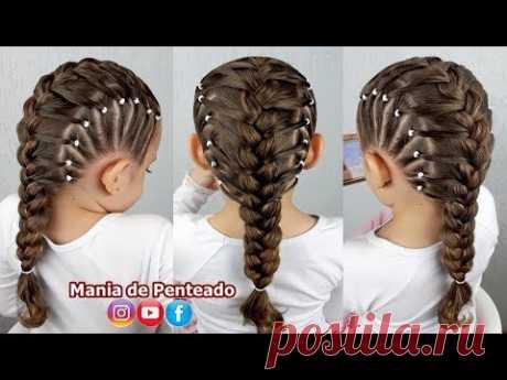 Прическа для девочек с французскими косами и боковыми эластиками