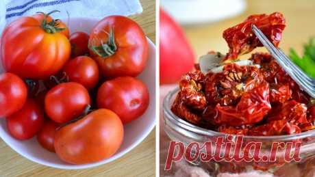 Что сделать с большим количеством томатов? Приготовьте вяленые помидоры Если разложить вяленные помидоры по пакетам и положить в морозилку, то таке заготовки будут храниться около года. Причем из-за своих размеров они занимают крайне мало места. В последнее время очень популярным стало вялить помидоры и заправлять их ароматным маслом со специями и чесноком. Получается