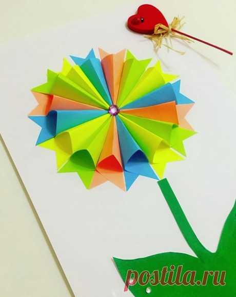 Поделки из бумаги для детей. объемная аппликация из цветной бумаги. подробный мастер класс см. на фо — Поделки с детьми