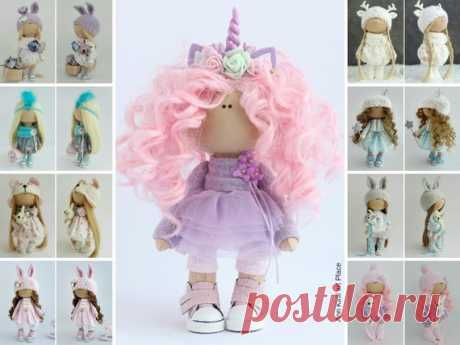Unicorn Rag Doll, Textile Tilda Doll, Interior Art Doll, Nursery Pink Doll, Handmade Fabric Doll, Valentines Love Doll Muñecas by Irina B Hello, dear visitors!  This is handmade cloth doll created by Master Irina B. (Kiev, Ukraine). Doll is READY for shipment.  Doll is 24 cm (9.44 inch) tall and made of only quality materials. All dolls stated on the photo are mady by Irina B. You can find them in our shop searching