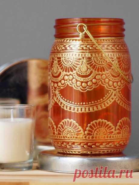 Bohème Mason Jar lanterne peint Mason Jar bougie lampe
