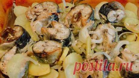 Запеченная скумбрия с картофелем в духовке – пошаговый рецепт с фотографиями