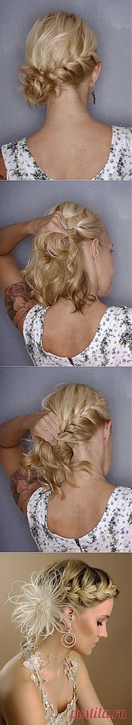 Французская коса для коротких волос