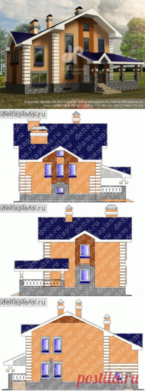 Готовый проект коттеджа загородного дома № K-214-1P