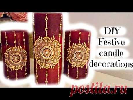 DIY Festive Henna Candle Decor | Henna Art By Aroosa
