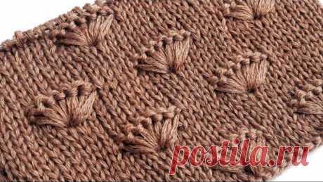 Ракушки на лицевой глади / Простой узор спицами для вязания свитера, шапки, пледа