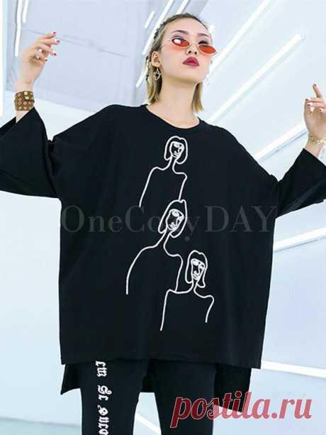 Черно-белая свободная футболка с вышивкой и круглым вырезом с вышивкой - onecozyday Clothing