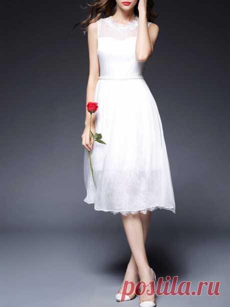 Appliqued Silk Midi Dress