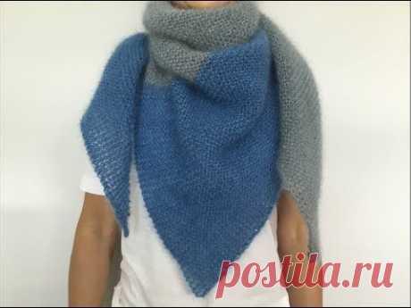 Двухцветный шейный платок Бактус из тонкой мохеровой пряжи. Simple knitting shawl