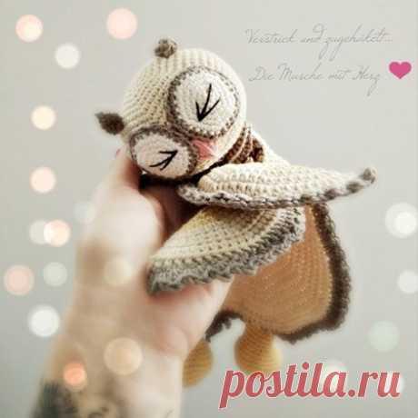 Schmusetuch häkeln // Eule // Babyspielzeug Häkle jetzt mit der PDF-Anleitung u. weicher, fusselfreier Wolle ein Schmusetuch in Form einer niedlichen Eule als Spielzeug fürs Baby. Probiers gleich aus.