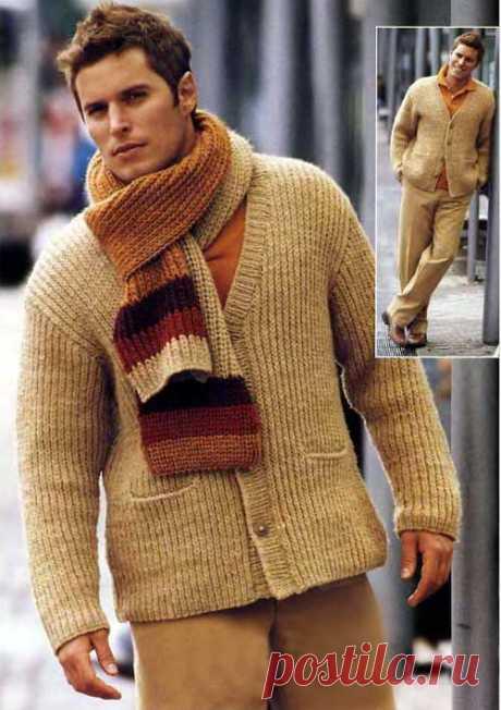 Мужской жакет и шарф спицами. Не сложная в исполнении, но очень интересная работа.
