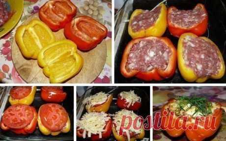 Перцы фаршированные. =Ингредиенты: - 2 крупных болгарских перчика - 200-300 гр мясного фарша - 1 помидор - кусочек сыра для посыпки, зелень