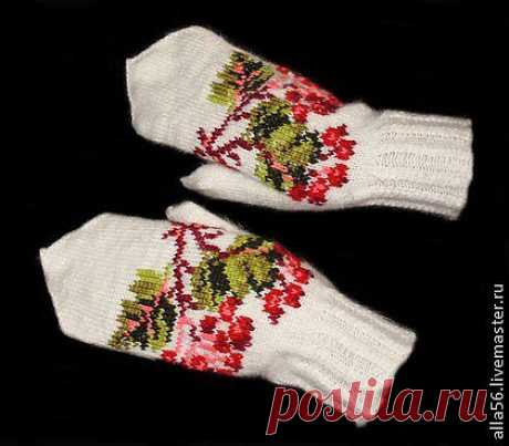 """""""Боярышник&quot mittens; - white, flower, women's mittens, knitted mittens"""