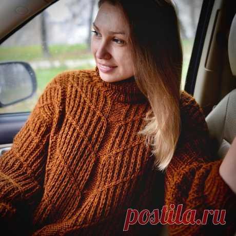 #вязаный_пуловер@modnoe.vyazanie Свитер с горлом горчичного цвета. Схема.
