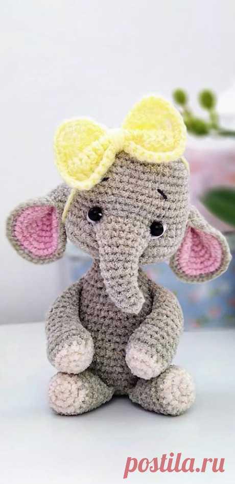 PDF Слонёнок крючком. FREE crochet pattern; Аmigurumi animal patterns. Амигуруми схемы и описания на русском. Вязаные игрушки и поделки своими руками #amimore - слон, слонёнок, слоник, слоненок.