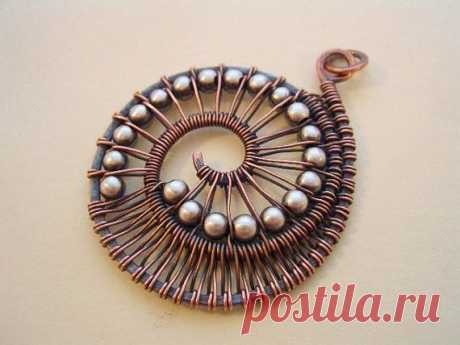 Nautilus Pendant---Copper Wire/Sterling Beads