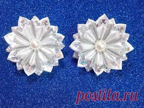 Новогодняя снежинка резинка из лент канзаши/ DIY Kanzashi Christmas Snowflake