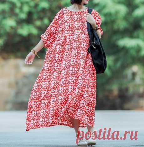 Cotton linen dress, Long dress oversized, Women's maxi dress, Floral dress 【Fabric】 Cotton, linen 【Color】  green, red 【Size】 shoulder width is not limited Shoulder + Sleeve 50cm / 20 Bust 160cm / 62.4 Cuff circumference 36cm / 14 Length 128cm / 50  Have any questions please contact me and I will be happy to help you.