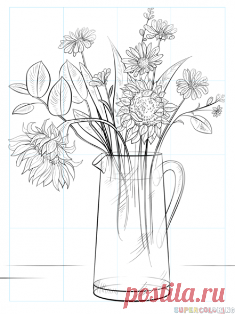 Как нарисовать букет цветов | Пошаговые уроки рисования для начинающих. Как нарисовать букет цветов - Поэтапные уроки рисования для детей и взрослых.