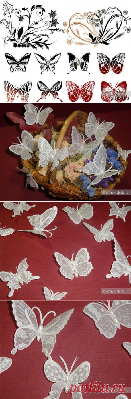 Hand-made articles in equipment pergamano - butterflies, schemes and the description \/ Original hand-made articles, souvenirs from paper, a cardboard, from natural materials \/ Kluklu. Needlework - beadwork, a kvilling, an embroidery a cross, knitting
