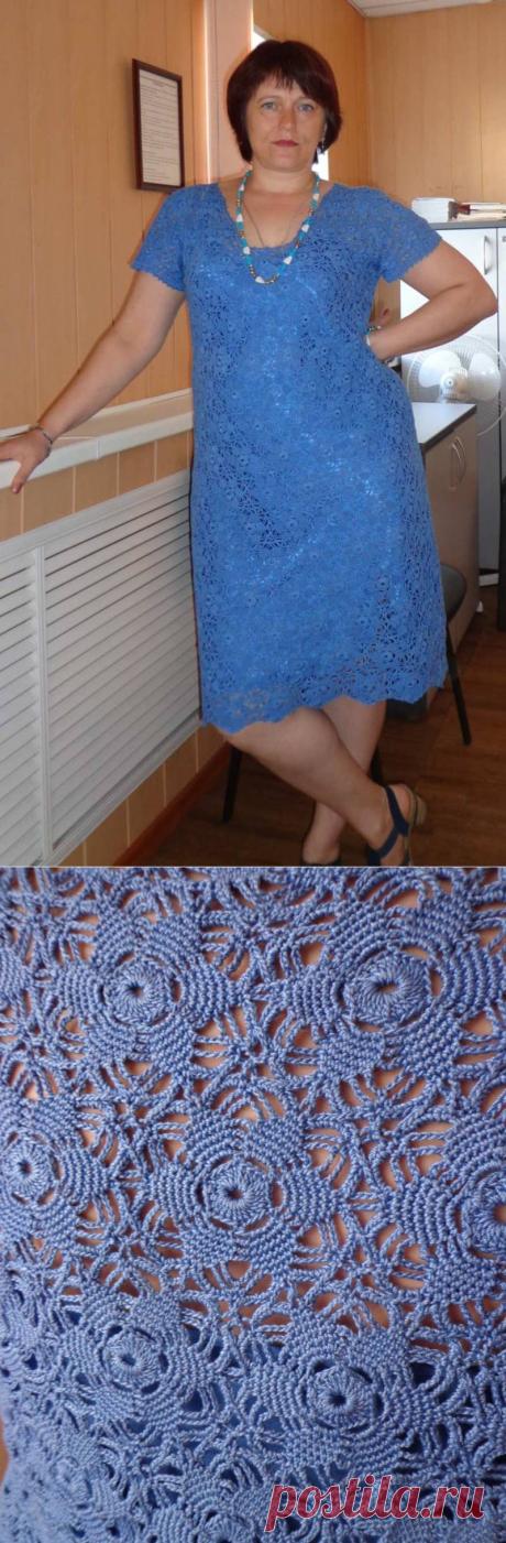 Голубое платье крючком.Моя работа.