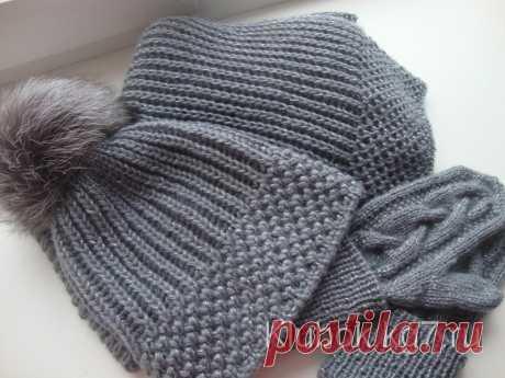 Комплект спицами - шапка и шарф | Клубок