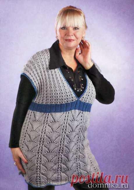 Вязаный жилет спицами для полных женщин старшего возраста - схемы жилета
