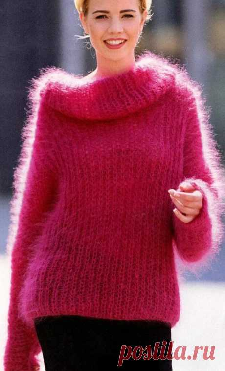 Mohair women's sweaters knitting by spokes, schemes