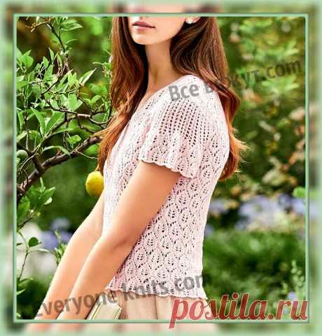 Ажурный топ узором из листочков, пряжей пастельного, нежно-розового оттенка с коротким рукавом спицами. | Все вяжут.сом/Everyone knits.com | Яндекс Дзен