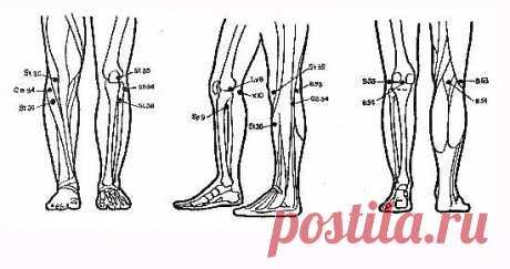 """ТОЧЕЧНЫЙ МАССАЖ ПРИ БОЛЯХ В КОЛЕННЫХ СУСТАВАХ  Китайский точечный массаж активизирует кровообращение и улучшает циркуляцию крови в области коленного сустава, что способствует исчезновению отеков в этой части тела. Кроме того, с помощью точечного массажа можно полностью снять болевые ощущения в коленных суставах.  Точки для снятия отеков и боли в коленных суставах:  Точка В 54 (""""управляющая середина""""). Симметричная точка, расположена на задней поверхности ноги в центре под ..."""