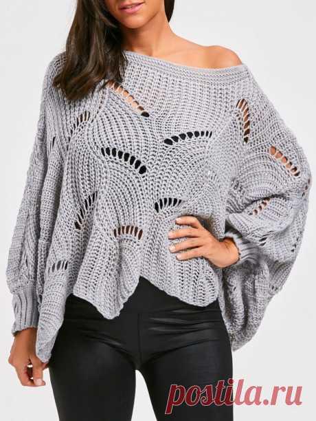 Вязаный пуловер оверсайз спицами - схема вязания свитера