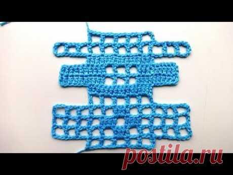 Филейная сетка. ✿ Прибавление и убавление клеточек. ✿ Вязание крючком. ✿ Crochet