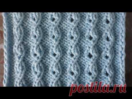 Ажурные цепочки . Красивый узор спицами для джемпера, кардигана, жилета, свитера, пуловера, кофты.