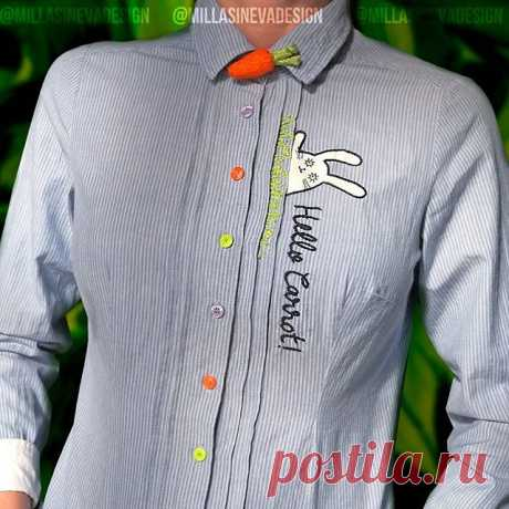 @millasinevadesign - вышитая и расписанная вручную рубашка с валяной брошью-vjhrjdrjq «Hello Carrot!» #ручнаяработа#ручнаяроспись#росписьодежды#росписьодеждыназаказ#custom#customize#customization#custompainting#custompainted#handmade#gift #art #хендмейд #embroidery #embroidered #felting #вышивка #валяние