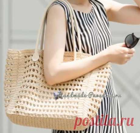 Большая летняя сумка из бумажной рафии. Крючком. Схемы. / handmade-paradise.ru