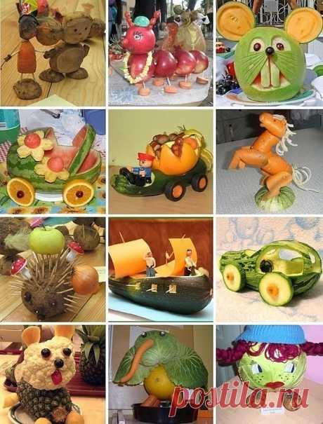 Поделки из овощей и фруктов для детского сада и школы! Родителям на заметку.