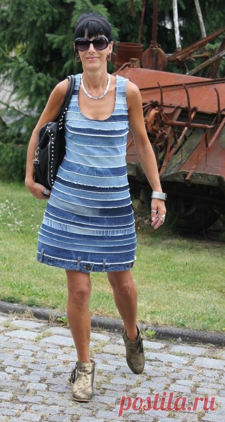 Джинсовые платья и сарафаны! Идеи и примеры для воплощения переделок! | Юлия Жданова | Яндекс Дзен