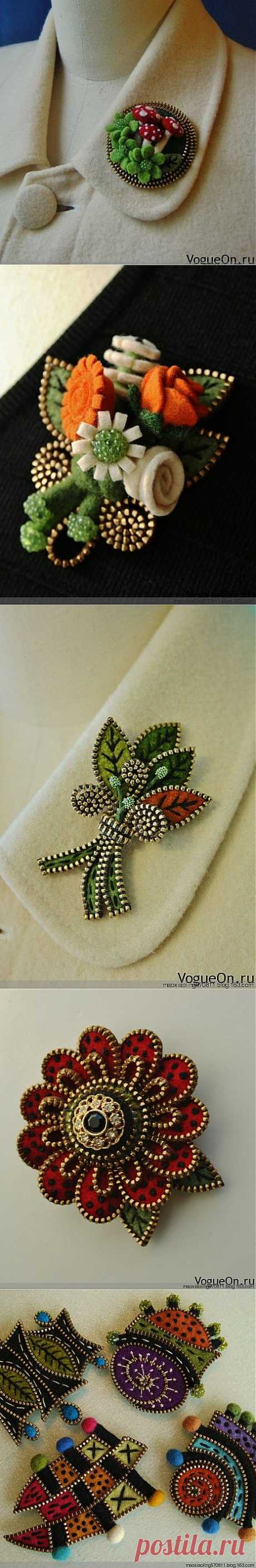 19 Ways to Make Felted Zipper Brooch   www.FabArtDIY.com