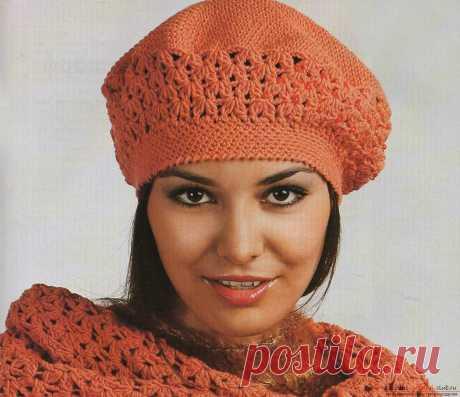 Вязание спицами фиолетовой шапки берет. Подробная схема с фото и описанием для начинающих