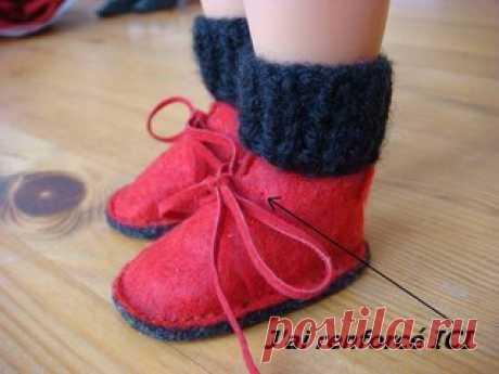Ботиночки для куклы.  #Выкройка от Chang-O.