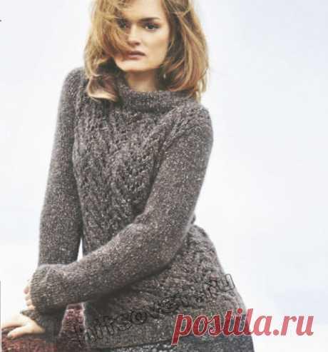 Серый свитер с ажурным узором - Хитсовет