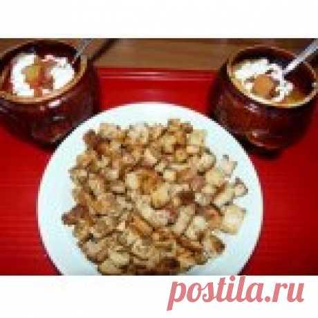 Борщ в горшочках с сухариками Кулинарный рецепт